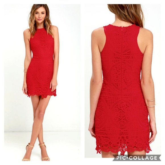 Joa Dresses Joa Red Lace Crochet Cocktail Dress Wedding Guest